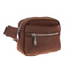 На фото 1 - Текстильная поясная сумка, цвет коричневый