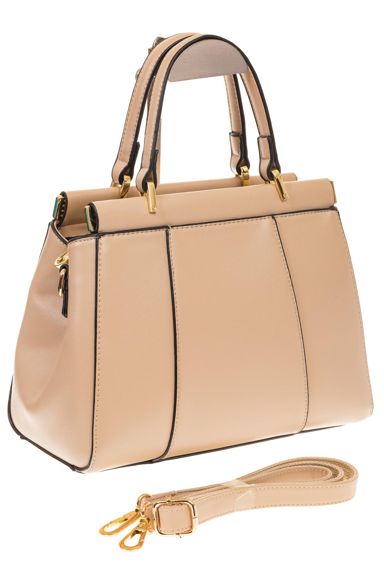 На фото 1 - Женская сумка с жесткой горловиной бежевого цвета 7139