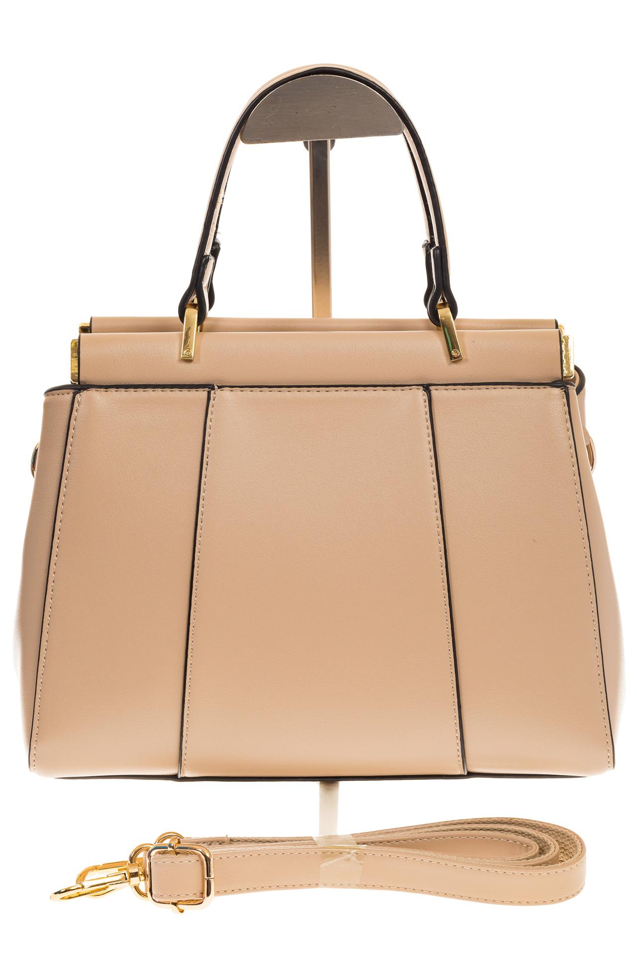 На фото 2 - Женская сумка с жесткой горловиной бежевого цвета 7139