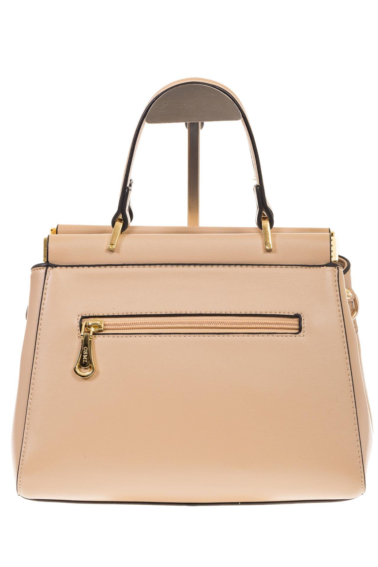 На фото 3 - Женская сумка с жесткой горловиной бежевого цвета 7139