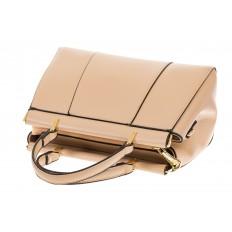На фото 4 - Женская сумка с жесткой горловиной бежевого цвета 7139
