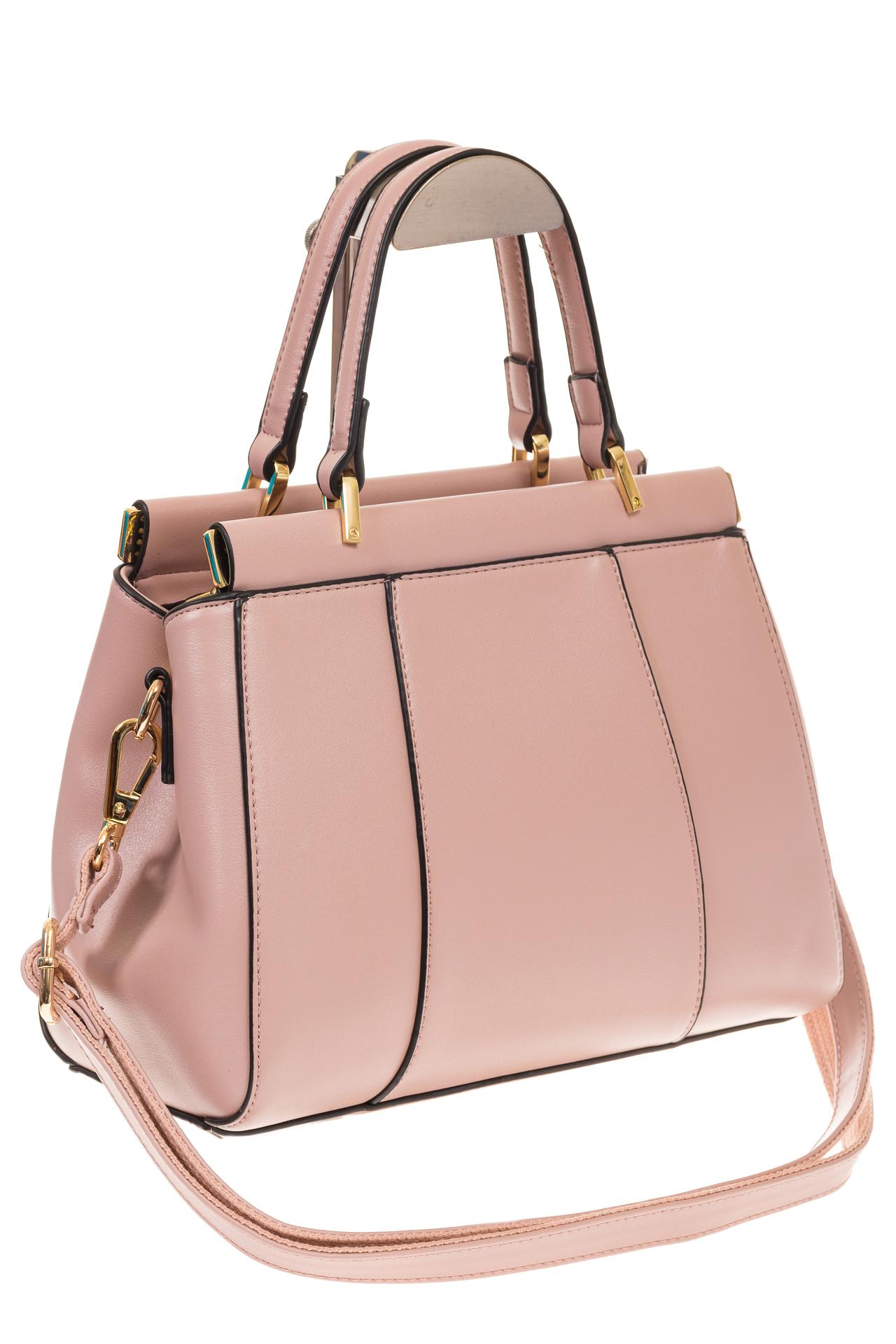 На фото 1 - Женская сумка с жесткой горловиной розового цвета 7139
