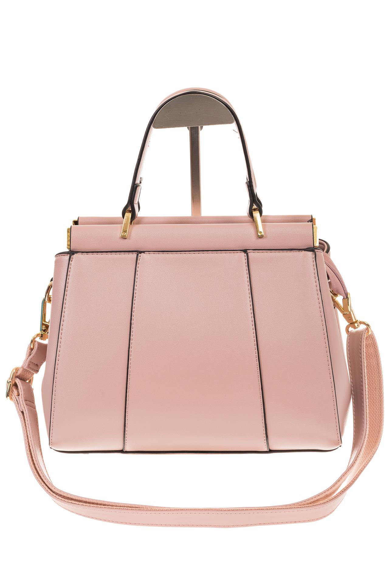 На фото 2 - Женская сумка с жесткой горловиной розового цвета 7139