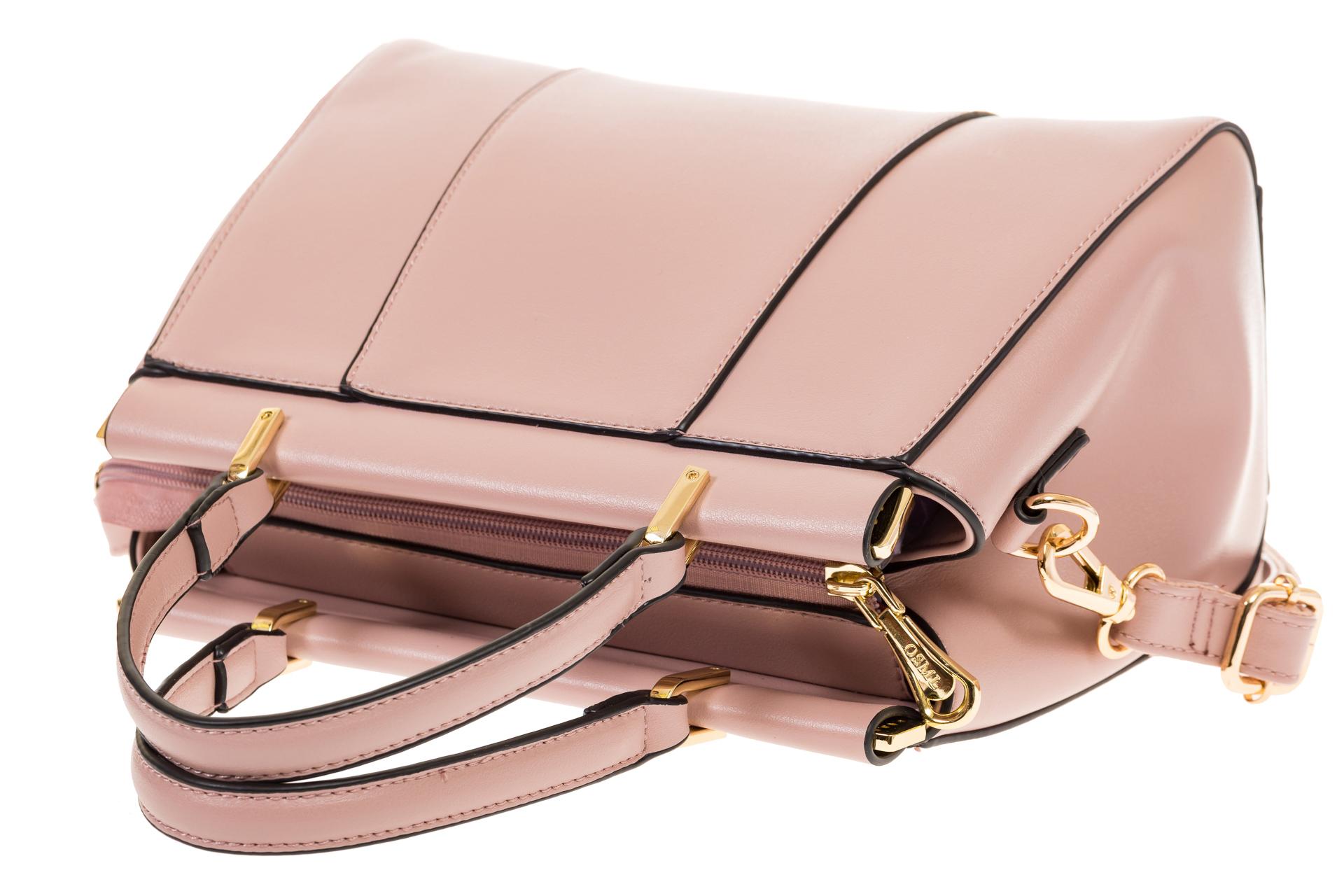 На фото 4 - Женская сумка с жесткой горловиной розового цвета 7139