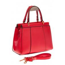 На фото 1 - Женская сумка с жесткой горловиной красного цвета 7139