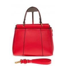 На фото 2 - Женская сумка с жесткой горловиной красного цвета 7139