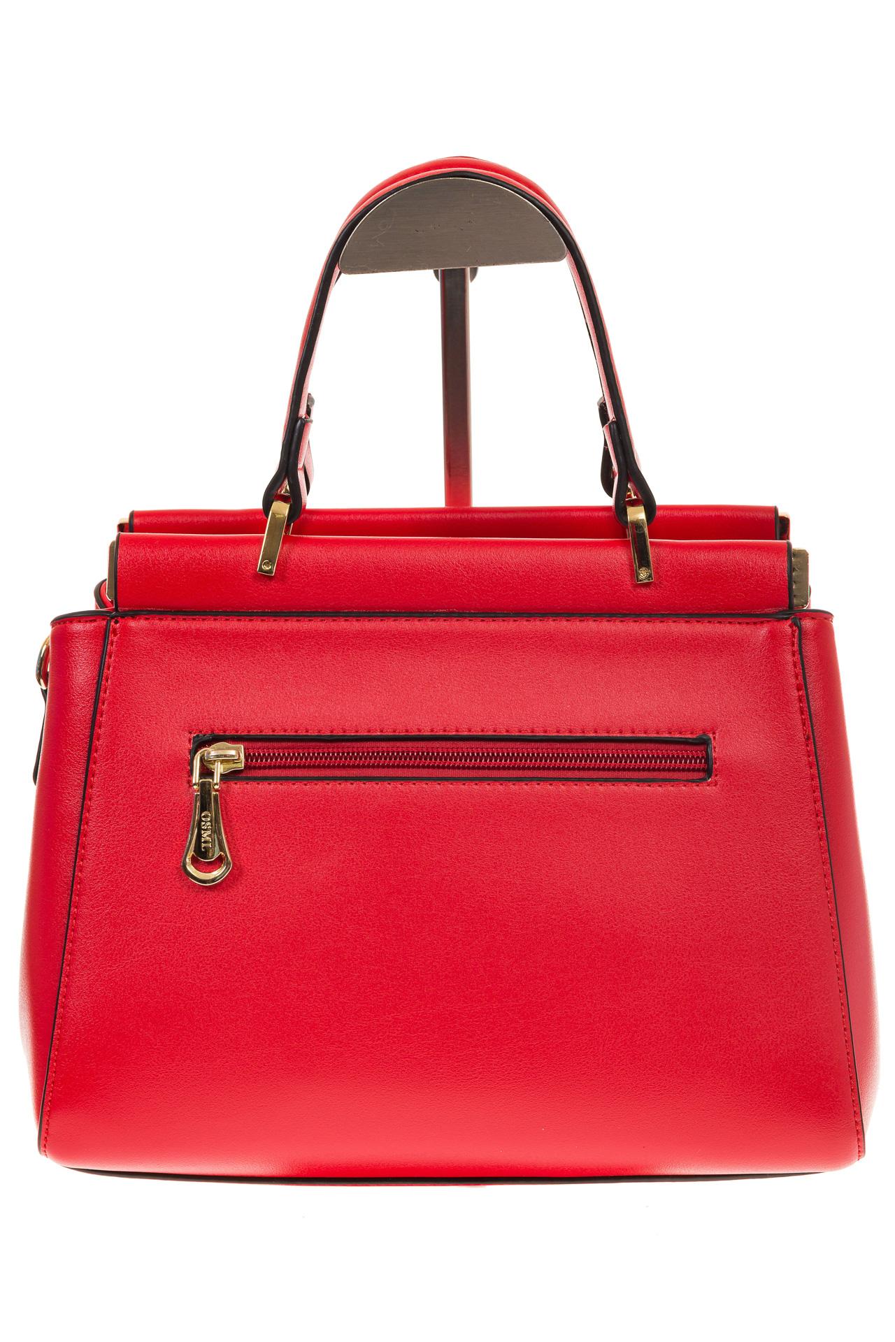На фото 3 - Женская сумка с жесткой горловиной красного цвета 7139