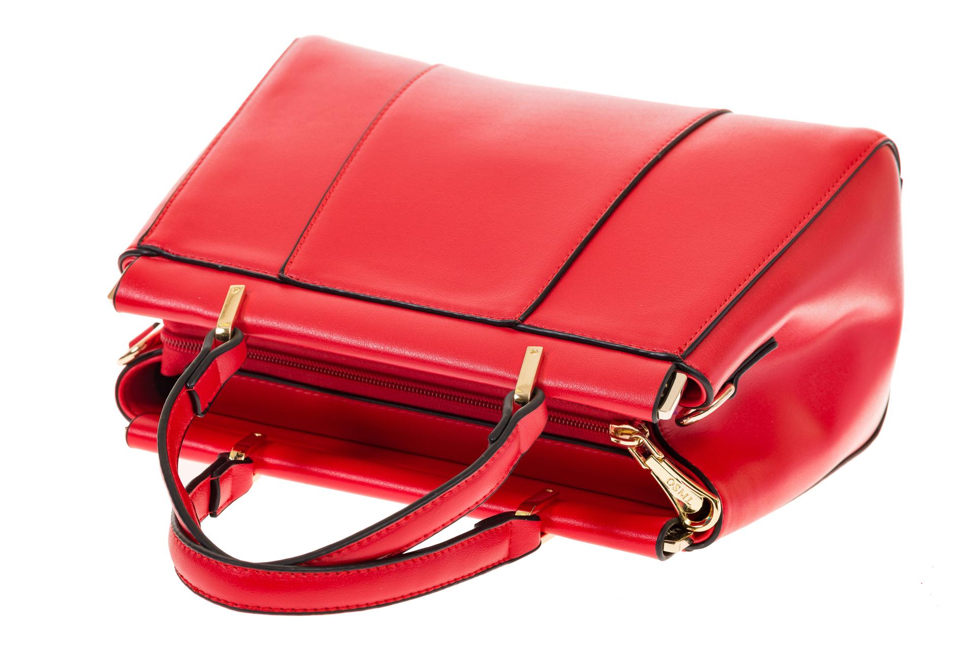 На фото 4 - Женская сумка с жесткой горловиной красного цвета 7139