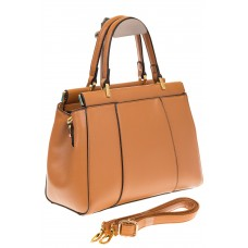 На фото 1 - Женская сумка с жесткой горловиной коричневого цвета 7139