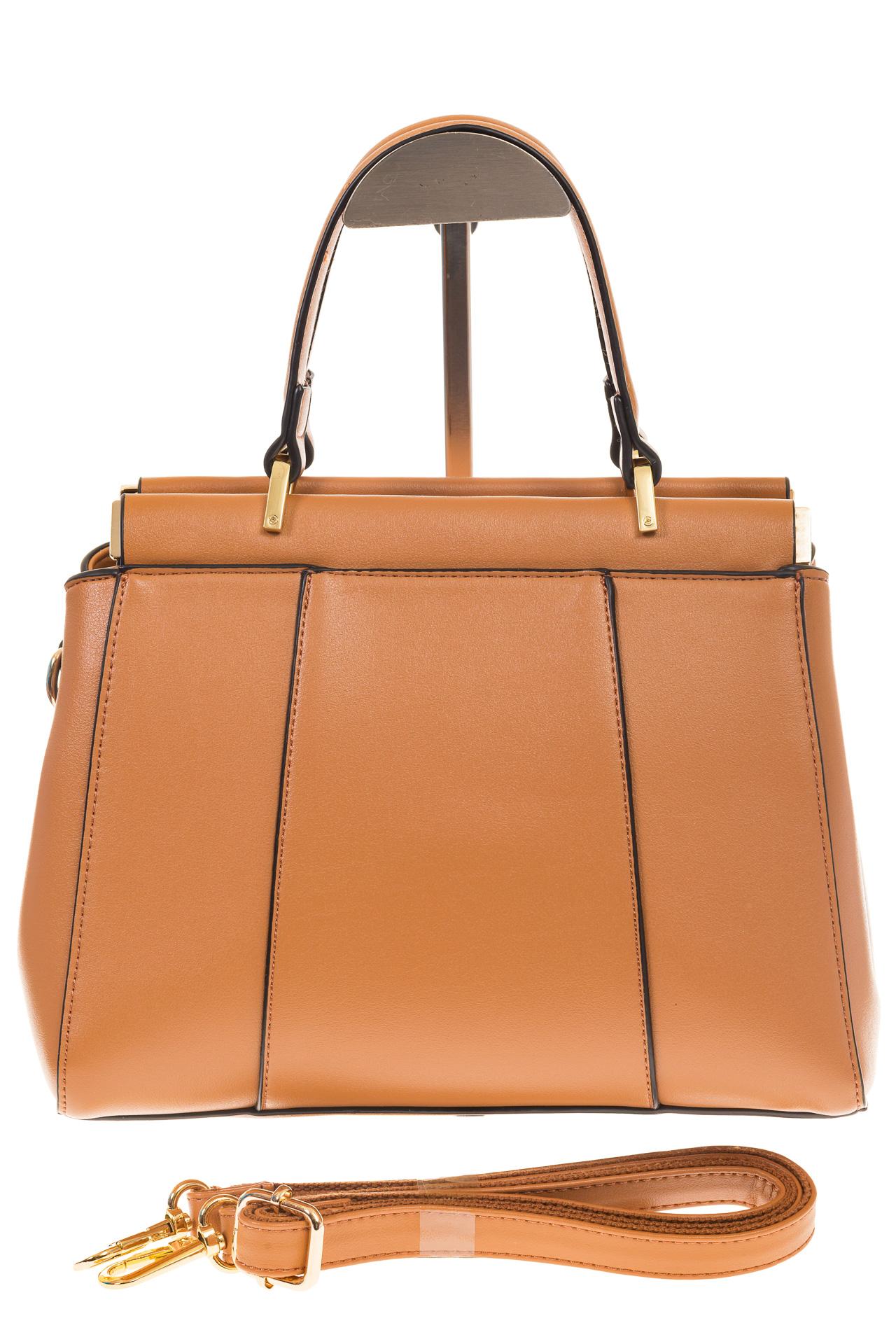 На фото 2 - Женская сумка с жесткой горловиной коричневого цвета 7139