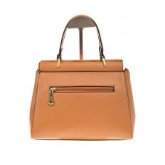 На фото 3 - Женская сумка с жесткой горловиной коричневого цвета 7139