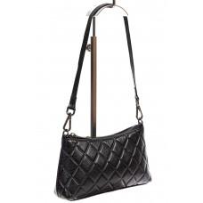 На фото 1 - Стёганая сумка-малышка из кожи, цвет чёрный