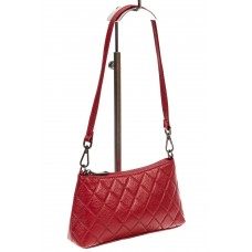 На фото 1 - Стёганая сумка-малышка из кожи, цвет красный