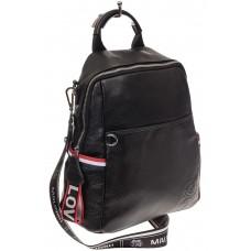 На фото 1 - Женский рюкзак из натуральной кожи, цвет черный