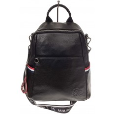 На фото 2 - Женский рюкзак из натуральной кожи, цвет черный