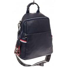 На фото 1 - Женский рюкзак из натуральной кожи, цвет синий