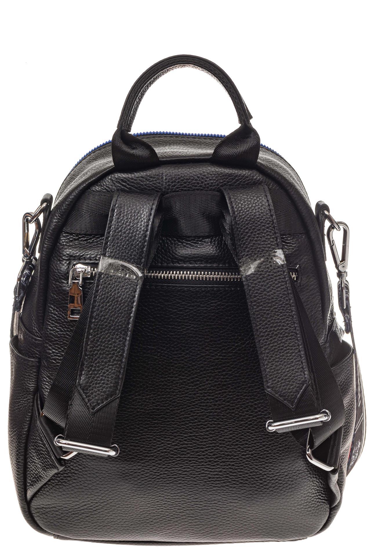 На фото 3 - Женский рюкзак из натуральной кожи, цвет черный