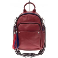 На фото 2 - Женский рюкзак из натуральной кожи, цвет красный