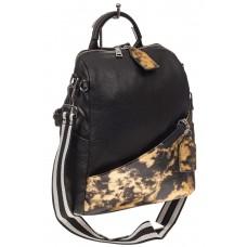 На фото 1 - Рюкзак из натуральной кожи, черный с бежевым принтом