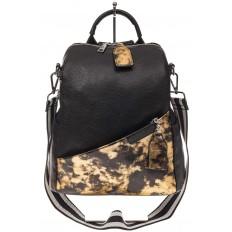 На фото 2 - Рюкзак из натуральной кожи, черный с бежевым принтом