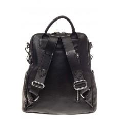 На фото 3 - Рюкзак из натуральной кожи, черный с бежевым принтом