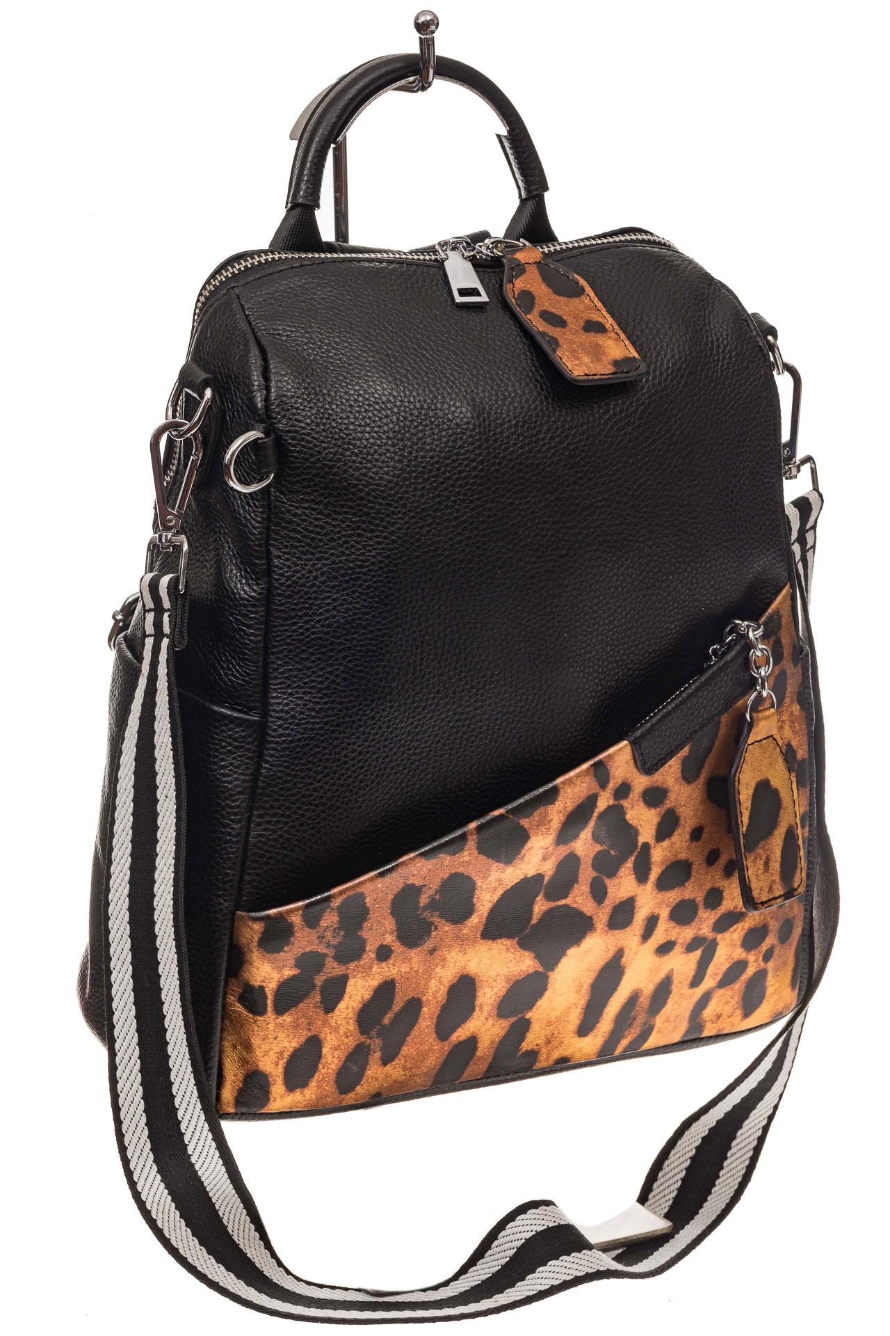 На фото 1 - Рюкзак из натуральной кожи, черный с оранжевым принтом