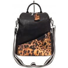 На фото 2 - Рюкзак из натуральной кожи, черный с оранжевым принтом