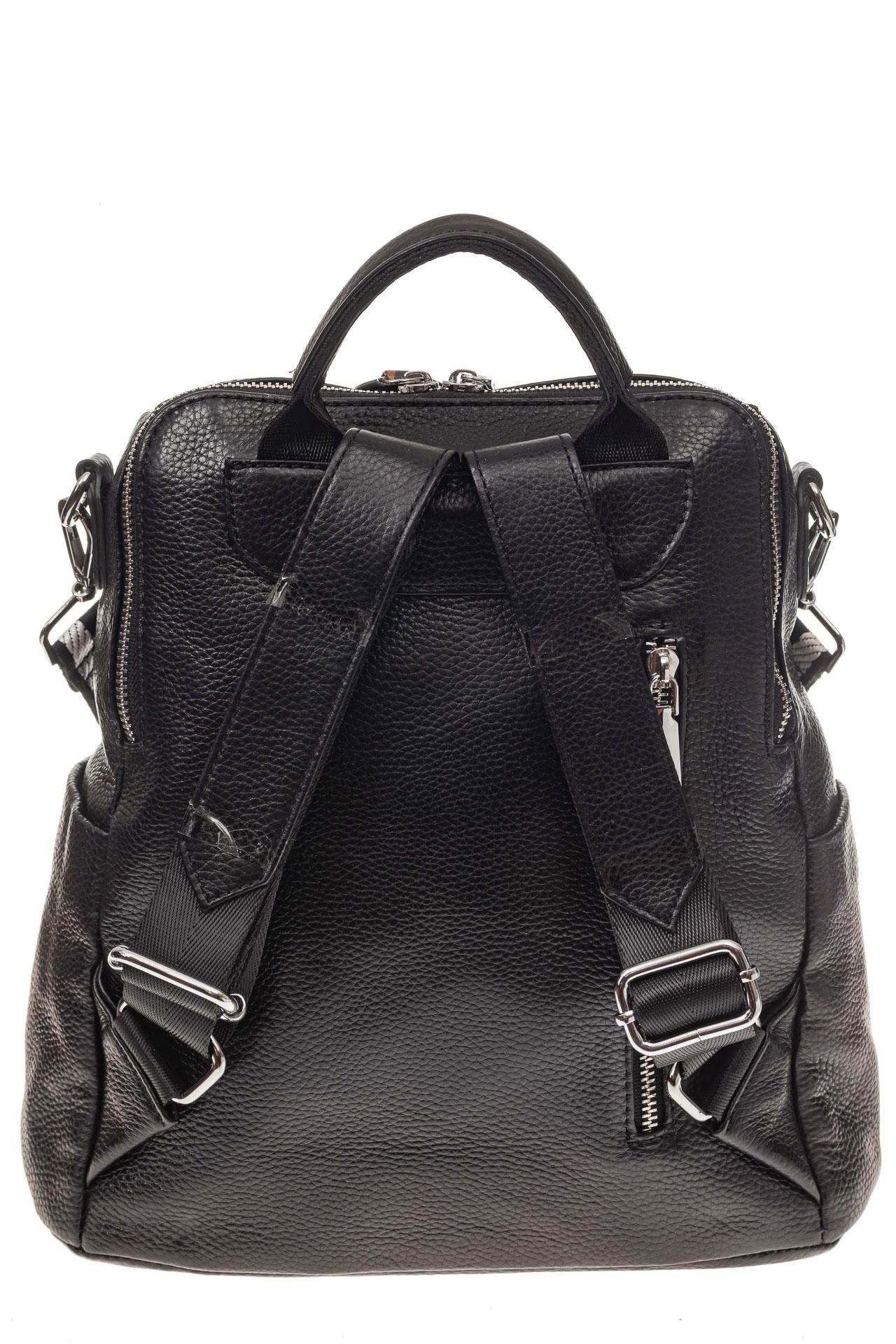 На фото 3 - Рюкзак из натуральной кожи, черный с оранжевым принтом