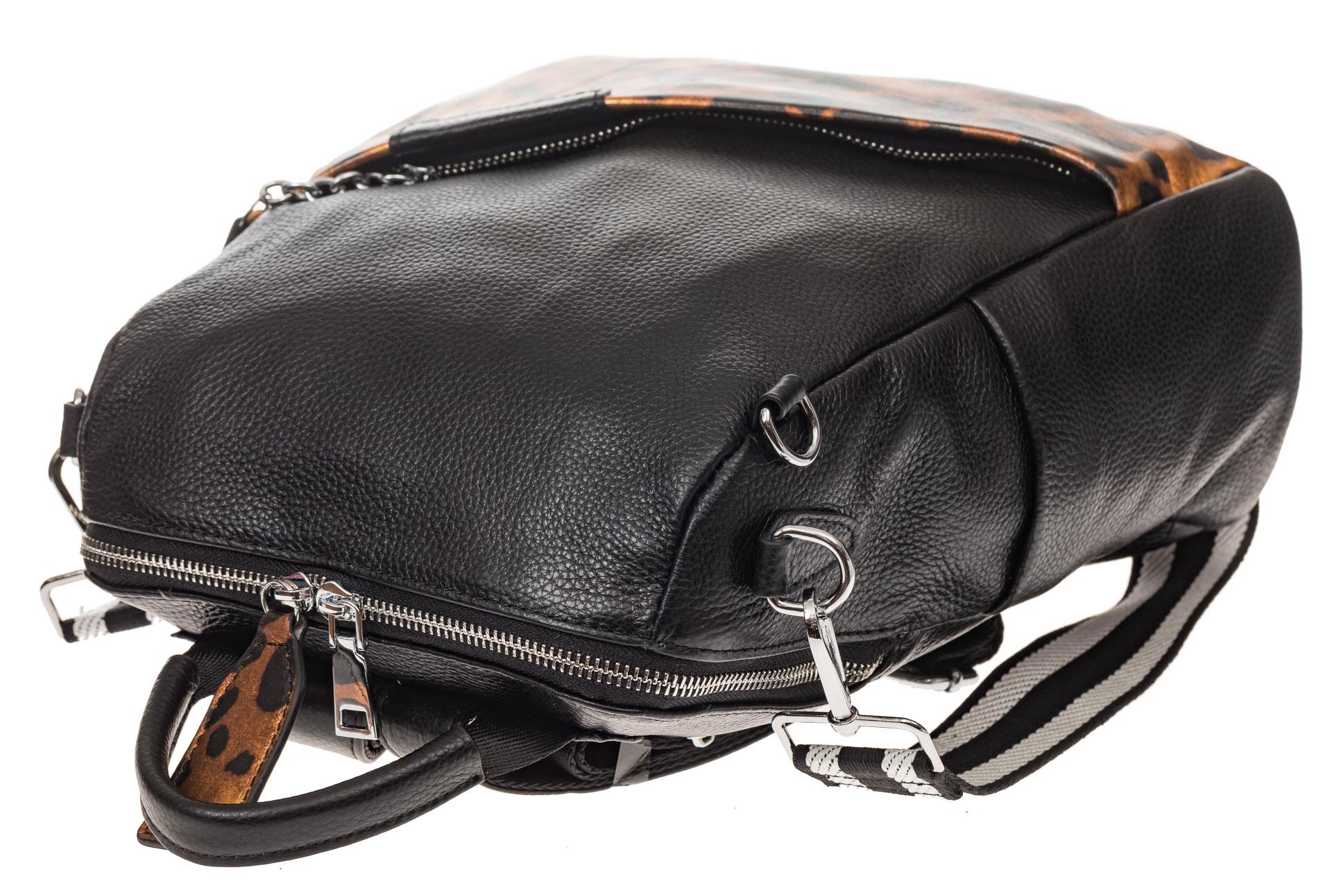 На фото 4 - Рюкзак из натуральной кожи, черный с оранжевым принтом