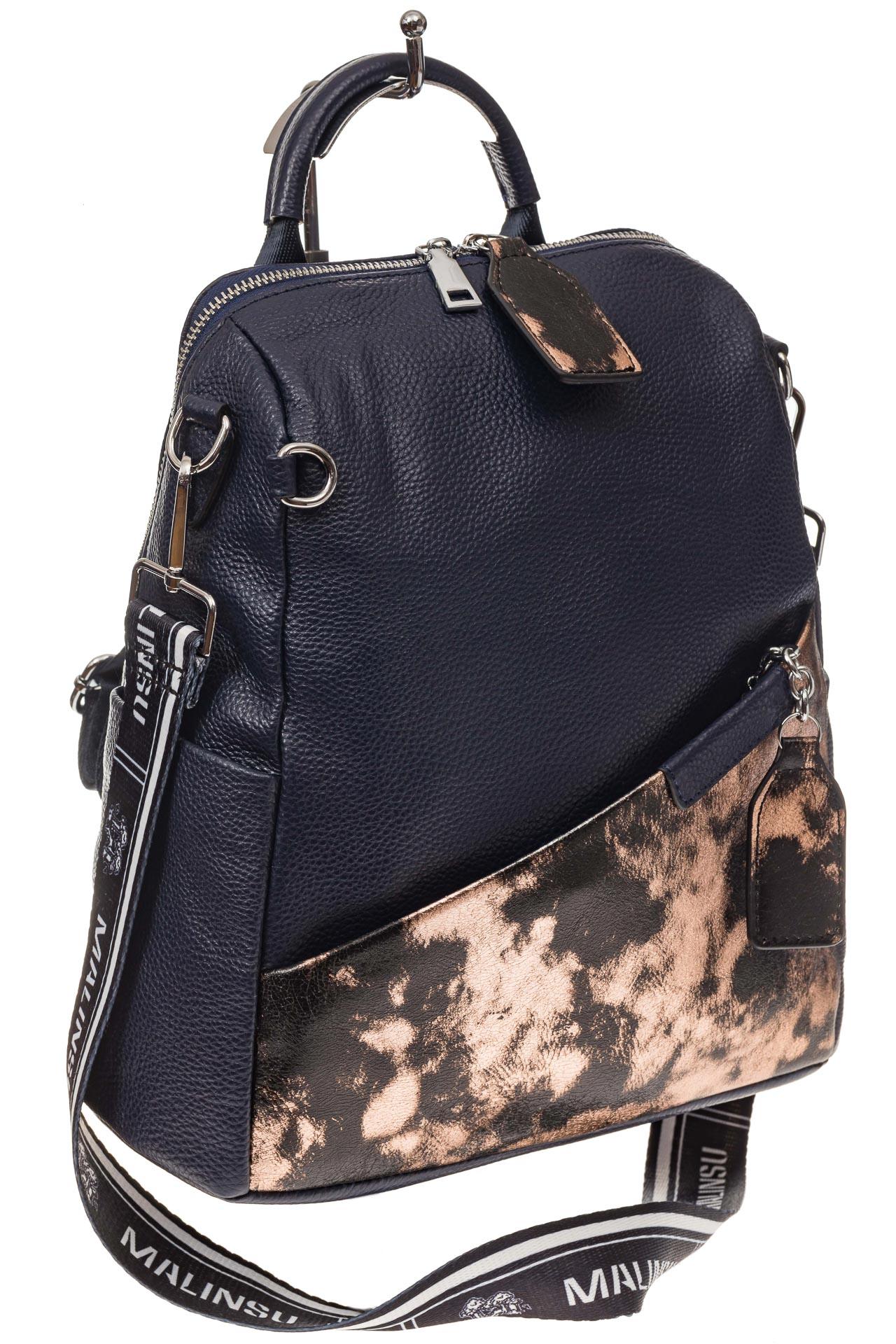 На фото 1 - Рюкзак из натуральной кожи, синий