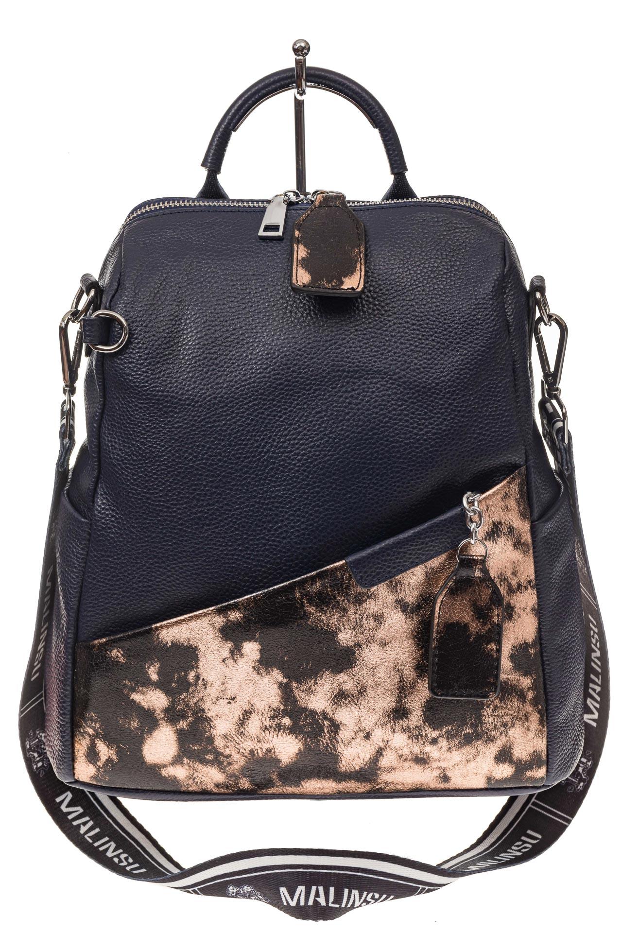 На фото 2 - Рюкзак из натуральной кожи, синий