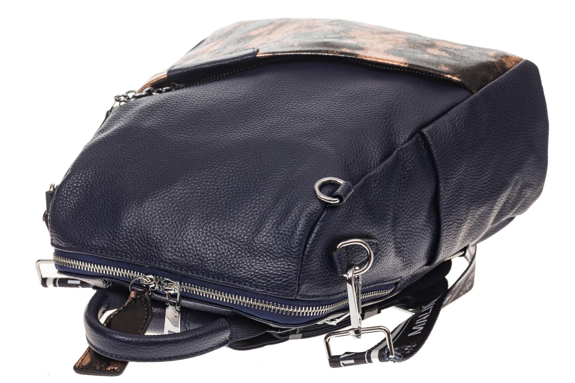 На фото 4 - Рюкзак из натуральной кожи, синий