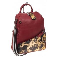 На фото 1 - Рюкзак из натуральной кожи, красный