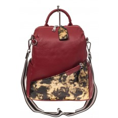 На фото 2 - Рюкзак из натуральной кожи, красный