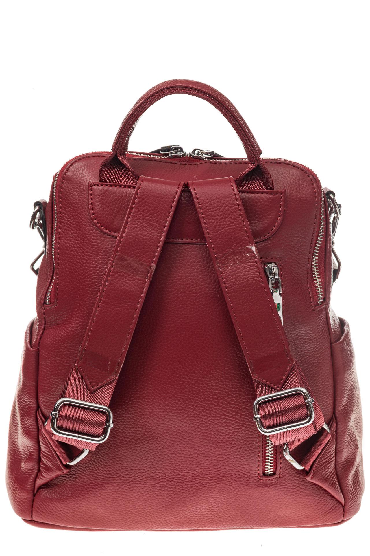 На фото 3 - Рюкзак из натуральной кожи, красный