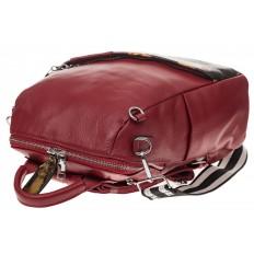 На фото 4 - Рюкзак из натуральной кожи, красный