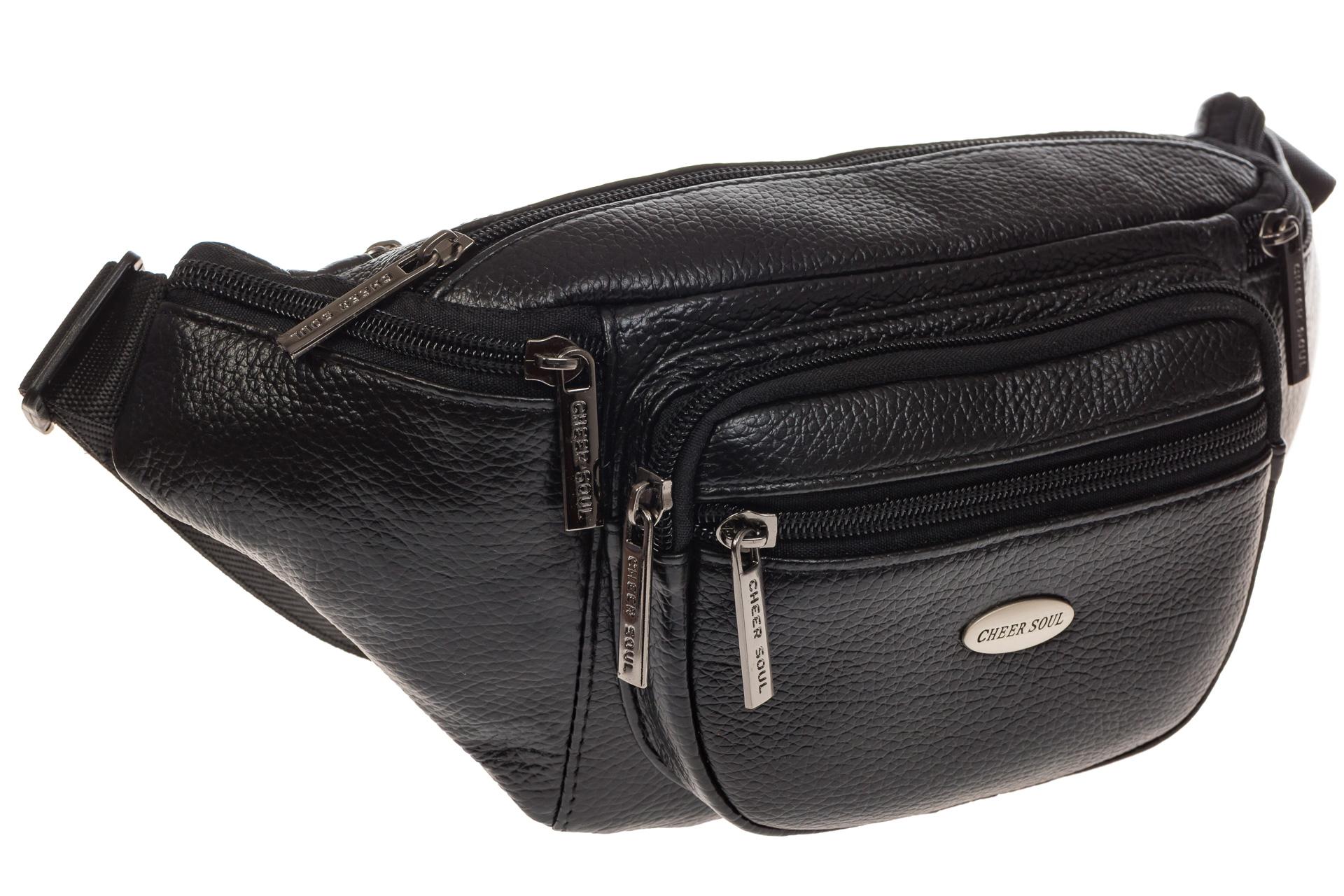 На фото 1 - Классическая сумка на пояс для мужчин из натуральной кожи