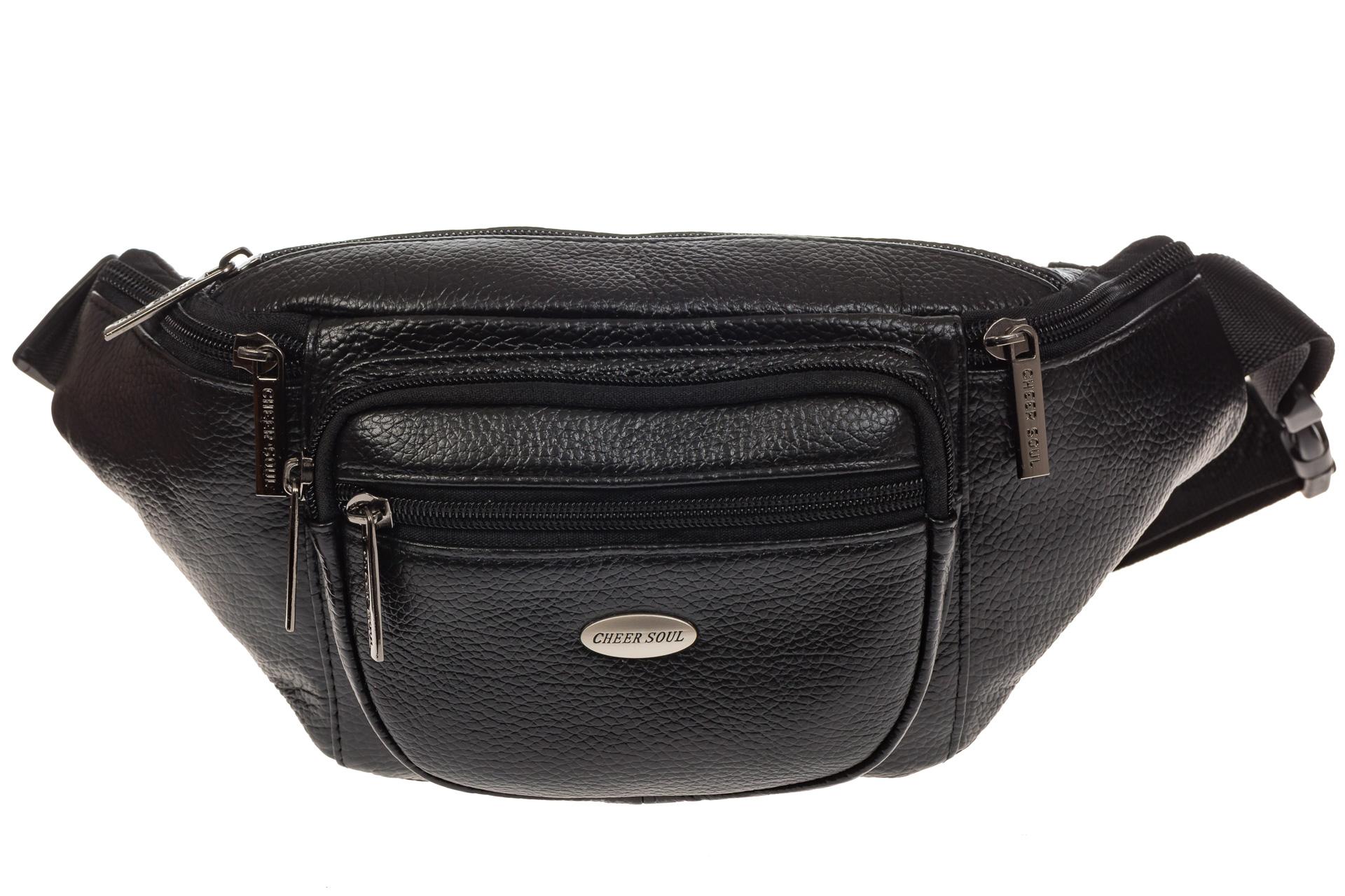 На фото 2 - Классическая сумка на пояс для мужчин из натуральной кожи