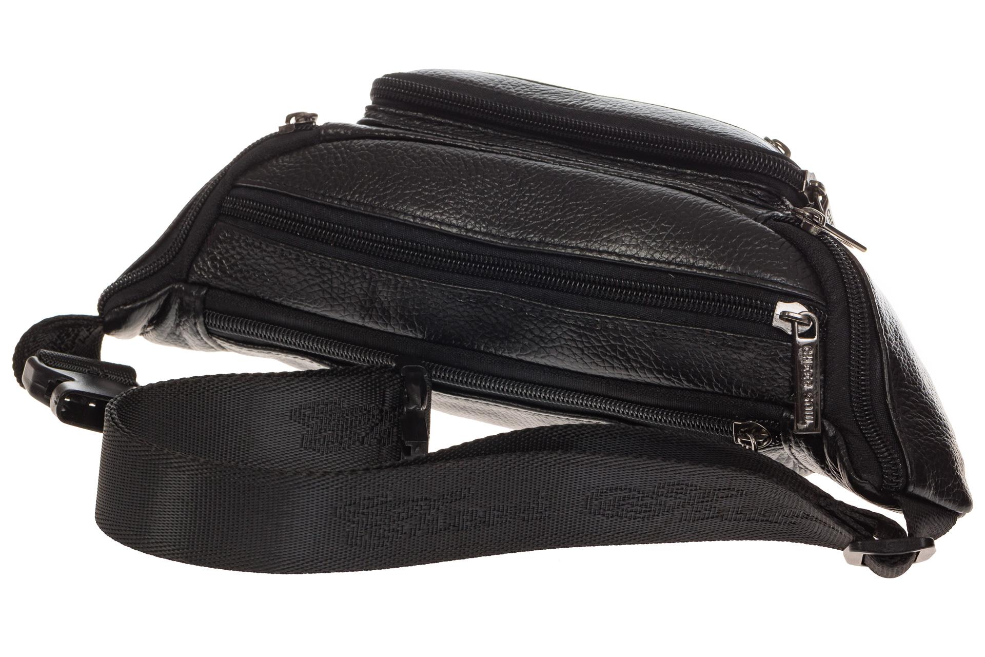 На фото 4 - Классическая сумка на пояс для мужчин из натуральной кожи