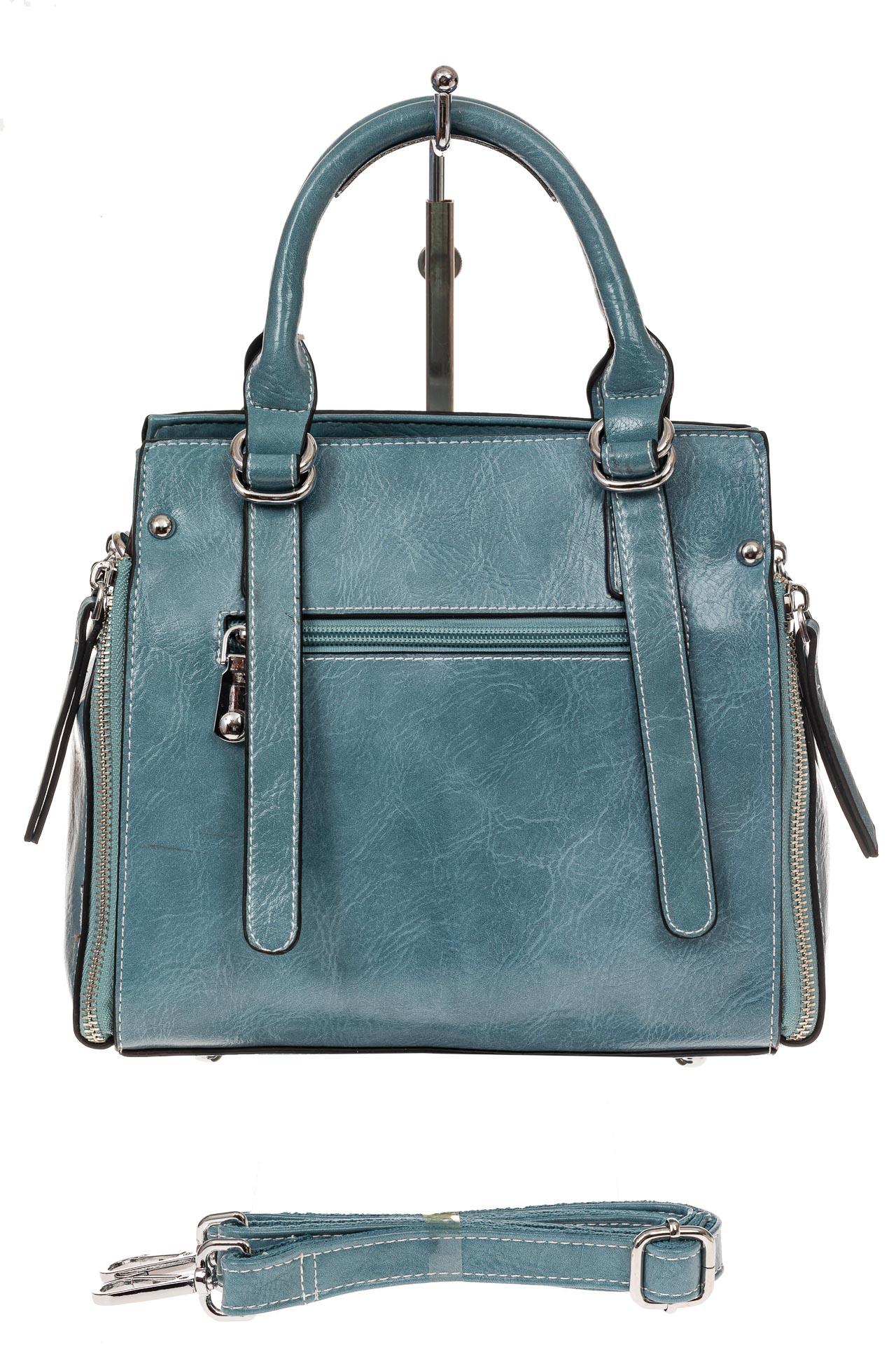 На фото 2 - Летняя женская сумка из искусственной кожи, цвет голубой