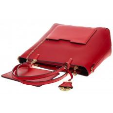 На фото 4 - Сумка шоппер из искусственной кожи, цвет красный