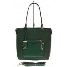 На фото 2 - Сумка шоппер из искусственной кожи, цвет зеленый