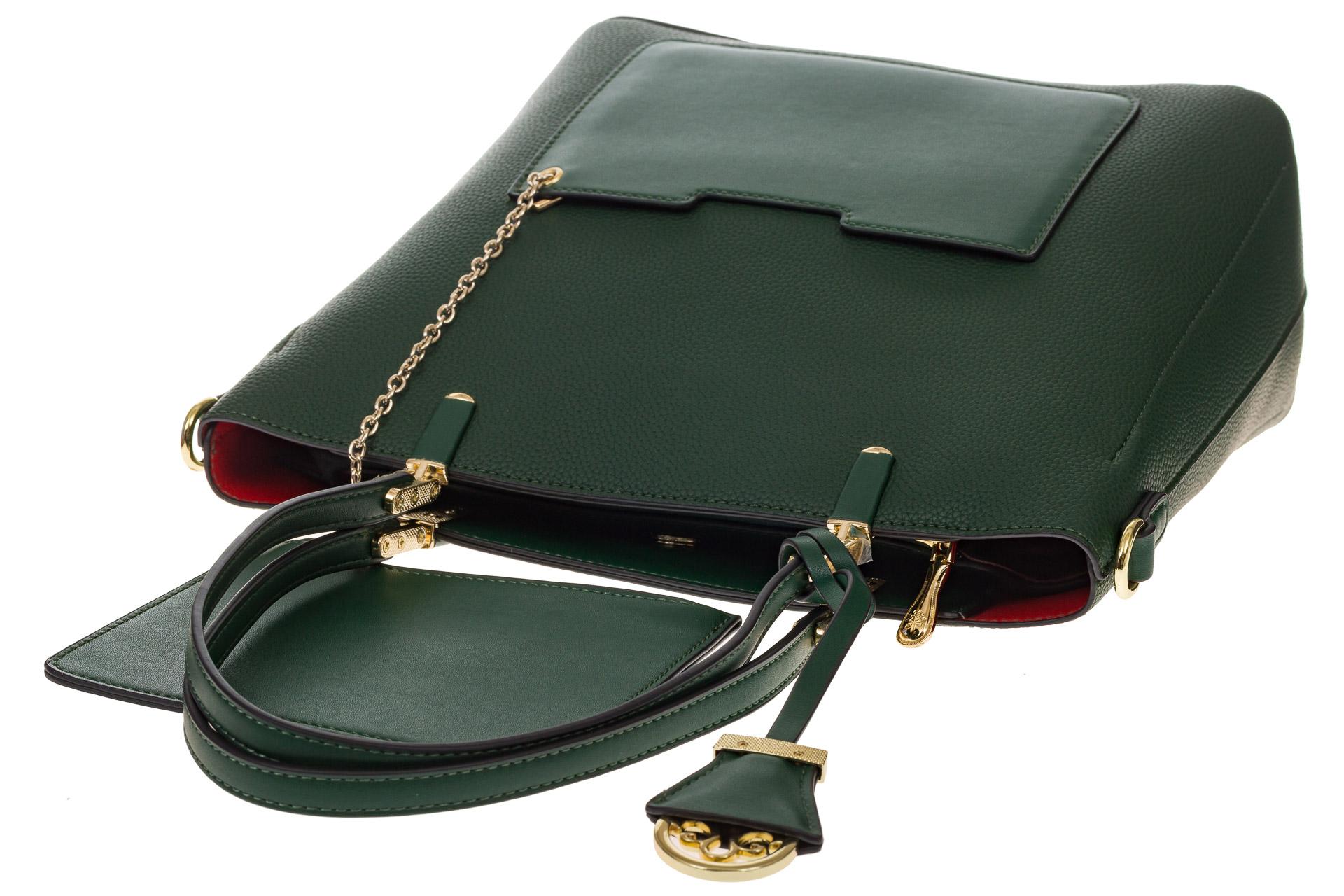 На фото 4 - Сумка шоппер из искусственной кожи, цвет зеленый