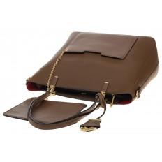 На фото 4 - Сумка шоппер из искусственной кожи, цвет бежево-коричневый
