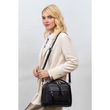 На фото 1 -  Женская каркасная сумка из гладкой экокожи, цвет черный