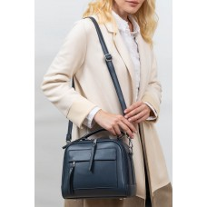 На фото 1 -  Женская каркасная сумка из гладкой экокожи, цвет графит