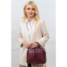 На фото 1 -  Женская каркасная сумка из гладкой экокожи, цвет бордовый