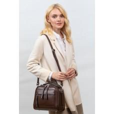 На фото 1 -  Женская каркасная сумка из гладкой экокожи, цвет коричневый