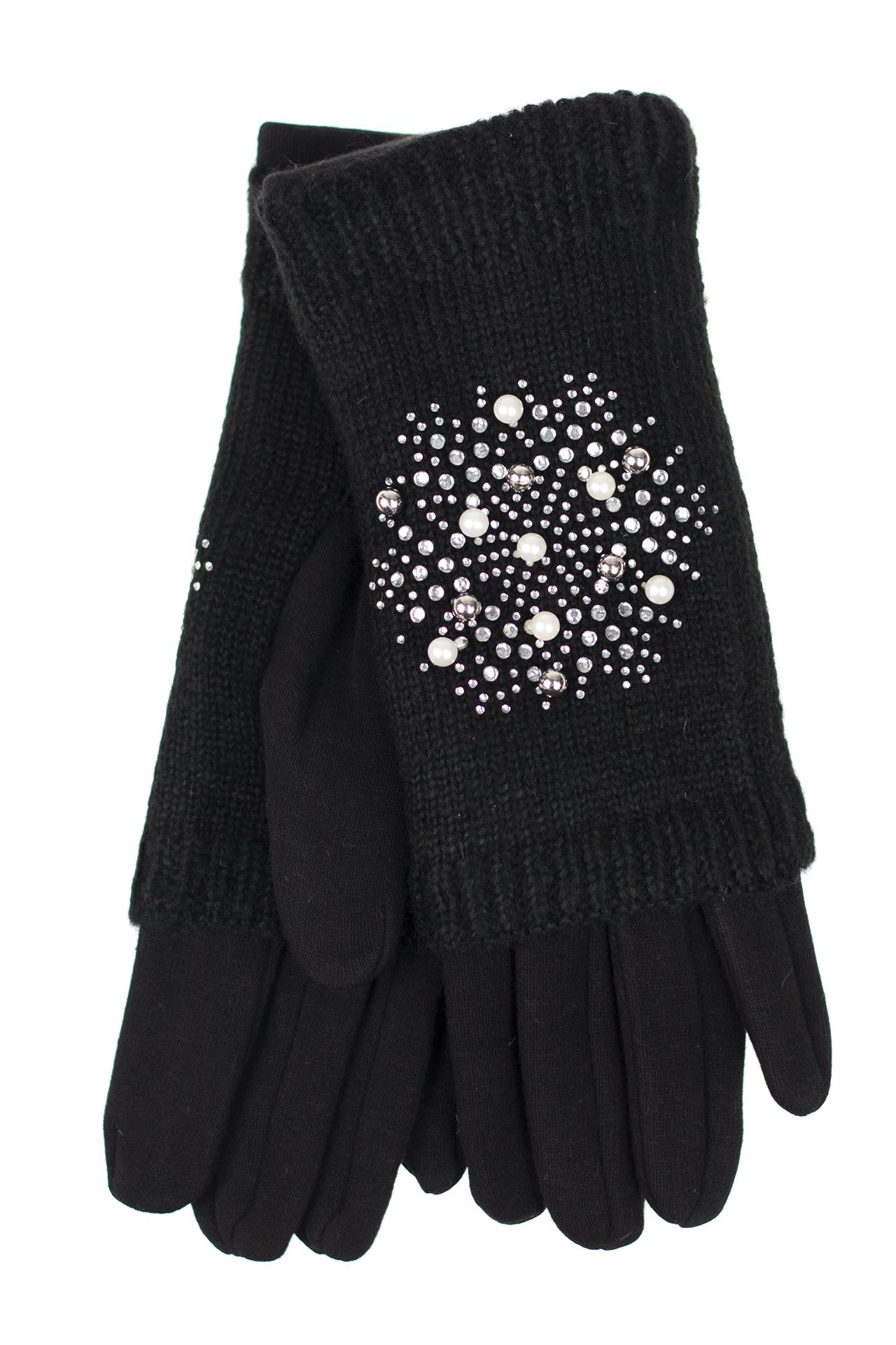 На фото 1 - Шерстяные митенки с вышивкой и  текстильными перчатками, цвет чёрный