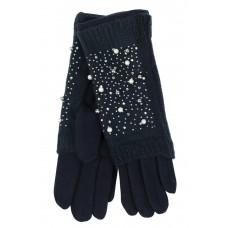 На фото 1 - Шерстяные митенки с вышивкой и  текстильными перчатками, цвет синий